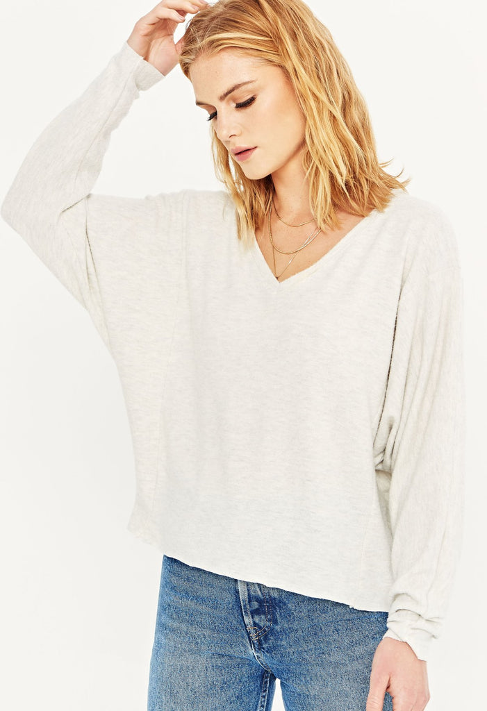 On and On Cozy Dolman V-Neck Top in Oatmeal