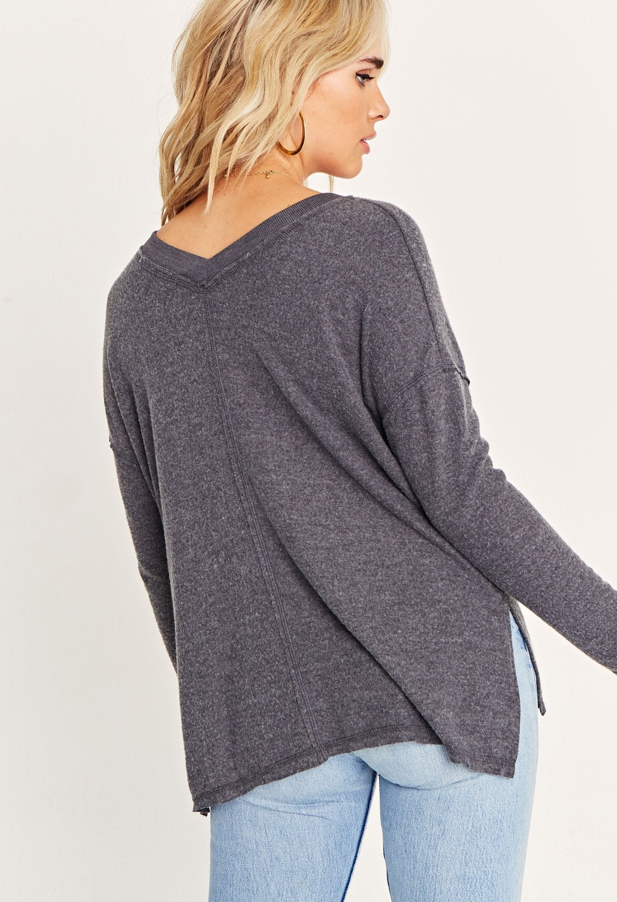 Charcoal Grey Long Sleeve V-Neck Pullover