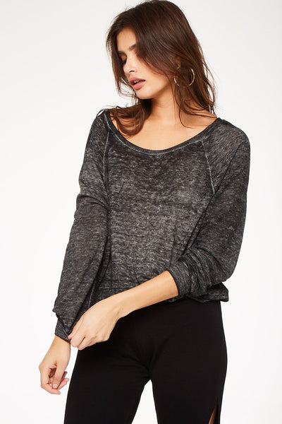 Charcoal Burnout Raglan Pullover