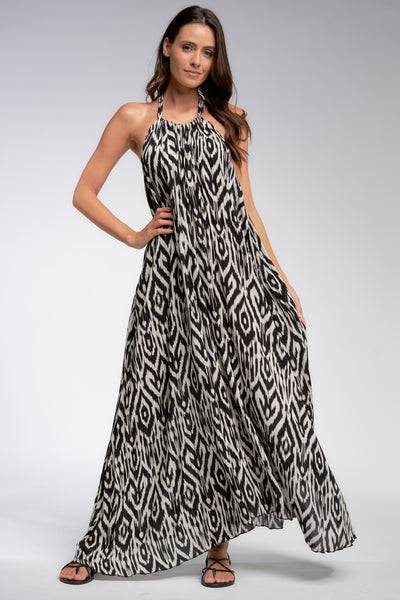 Black Batik Maxi Halter Dress