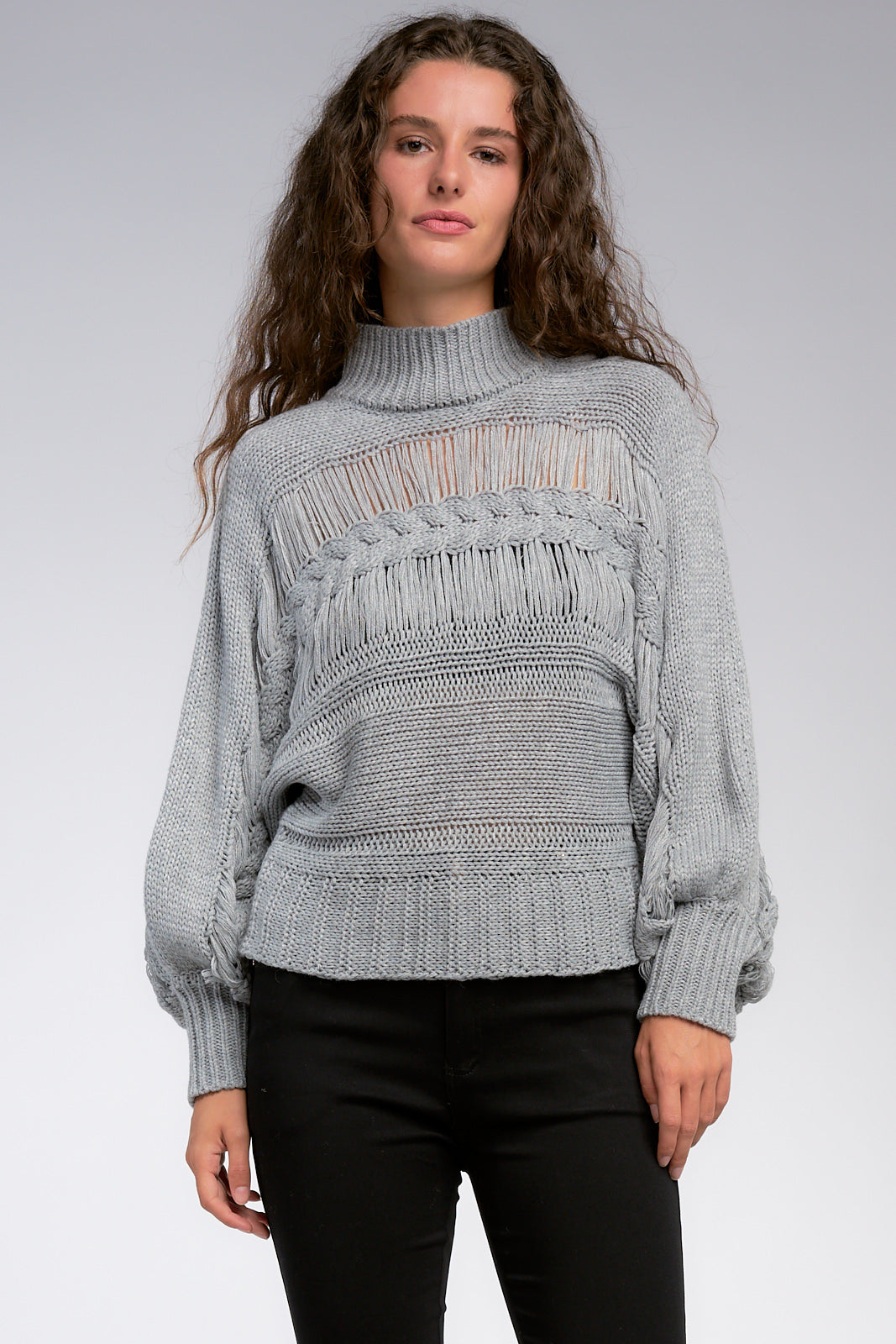 Grey Turtleneck Sweater With Dolman Sleeves