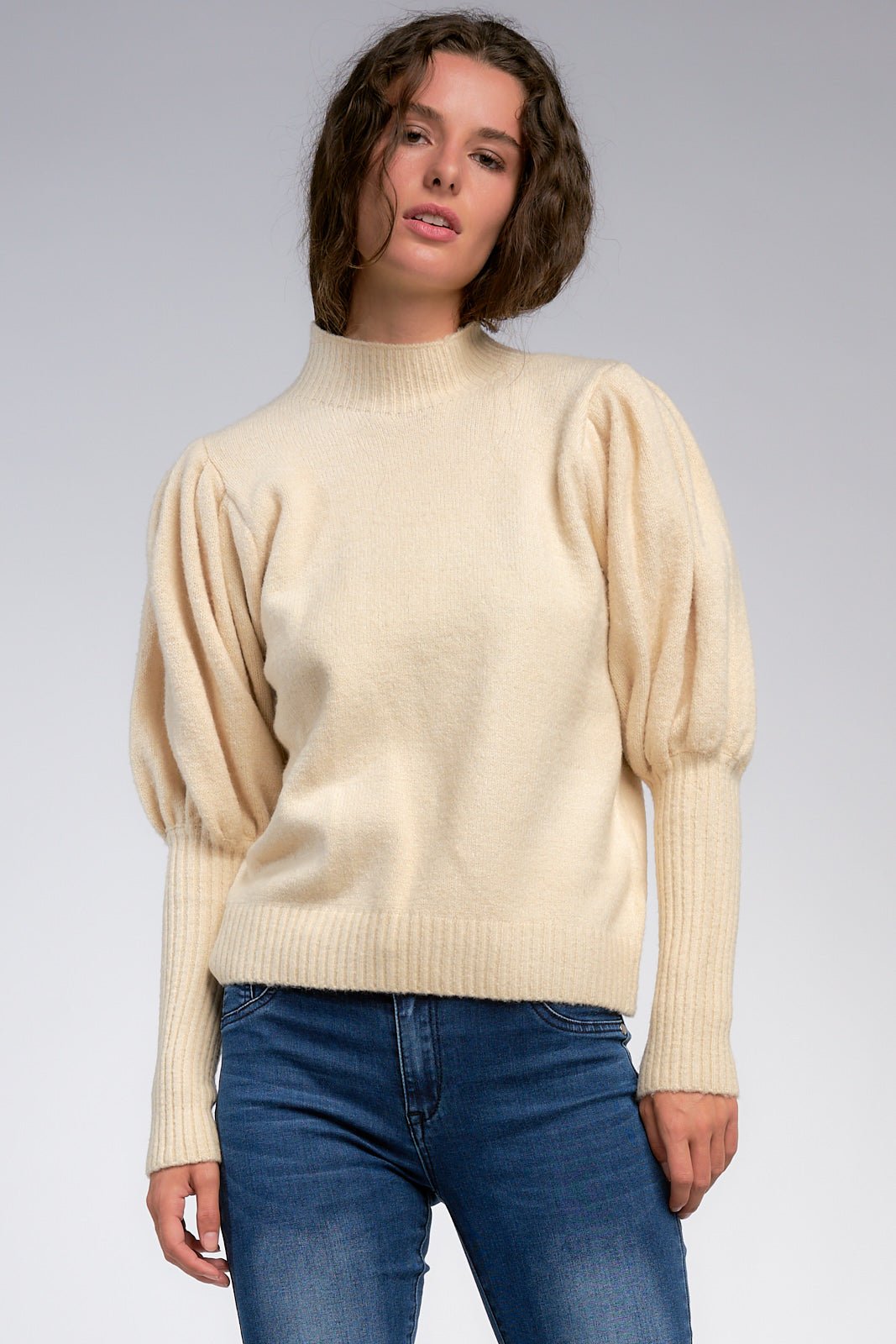 Mock Neck Sweater with Puffy Sleeves