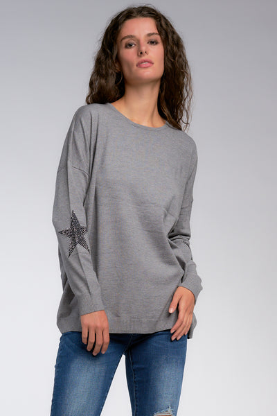 Grey Oversized Sweater with Black Stars