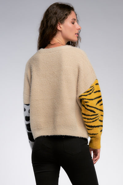 Color Block Sweater with Animal Print Accents