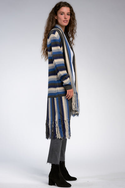 Blue/Grey/Ivory Mixed Striped Long Cardigan with Fringe