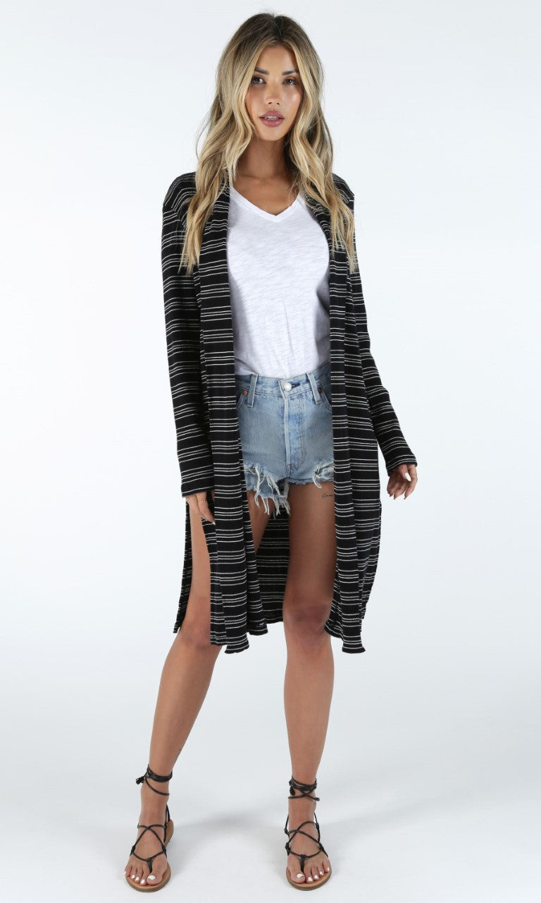 Black Ribbed Cardigan with White Stripes