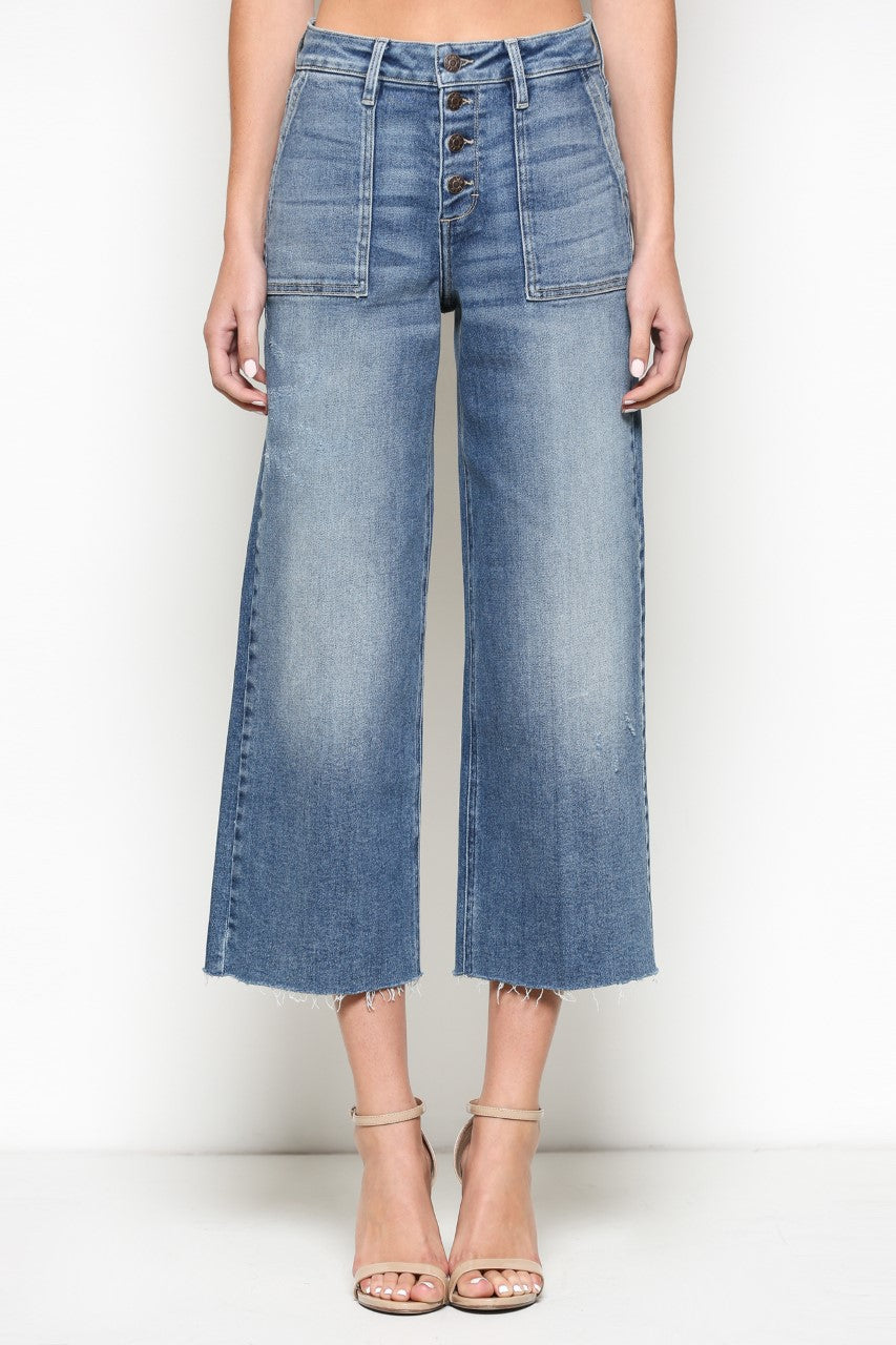 High Rise Button Front Cropped Wide Leg Jeans