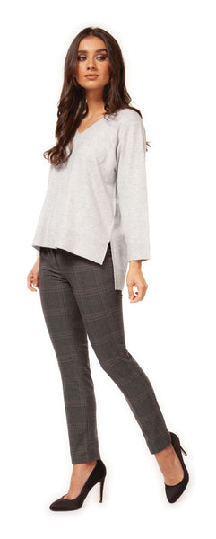 Grey 3/4 Sleeve V-Neck Sweater