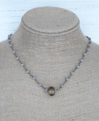 Beaded Chain Choker with Rolled Bead Charm