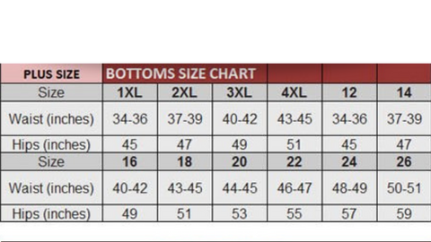 Chart for women's bottoms