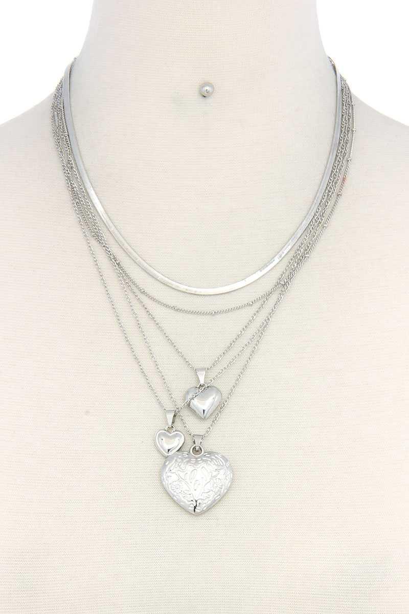 Heart Charm Multi-Layered Metal Necklace