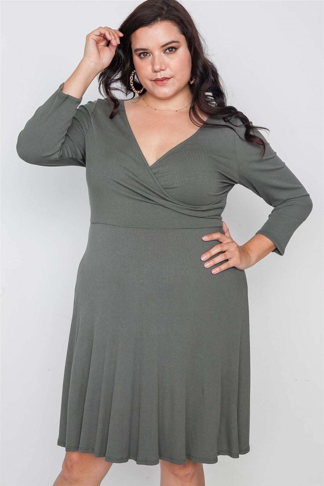 Plus Size Ribbed V-neck Dress