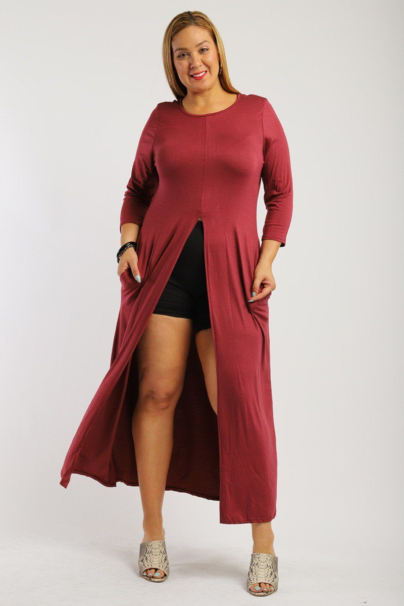 Solid. Brick Color Long Body Tunic Top