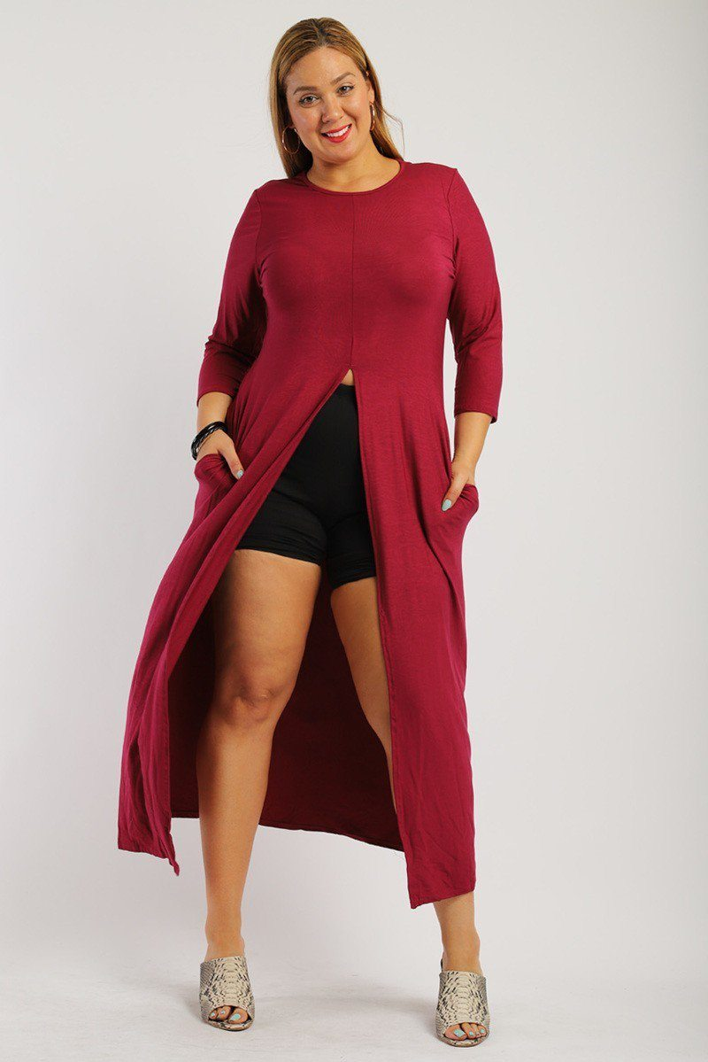 Solid Burgundy Color Long Body Tunic Top