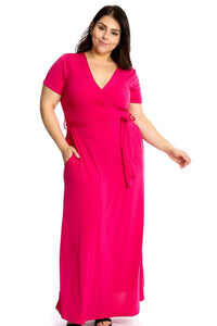 Solid Fuchsia Color Maxi Dress