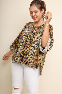 Jaguar Print Cuffed 3/4 Sleeve Top