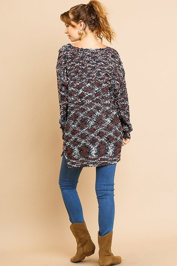 Multi Color Long Sleeve V-neck Soft Knit Pullover