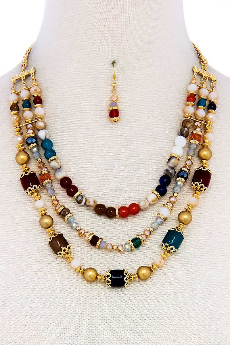 Multi Beaded Three Layer Necklace And Earring Set