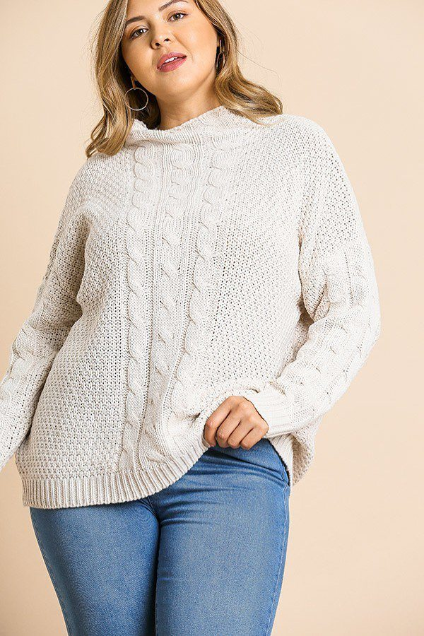 Plus Size Long Sleeve Cable Knit Mock Neck Pullover Sweater