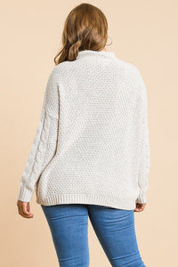 Long Sleeve Cable Knit Mock Neck Pullover Sweater