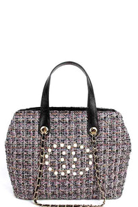 Chic Rough Fabric Woven Satchel Purse With Linked Chain