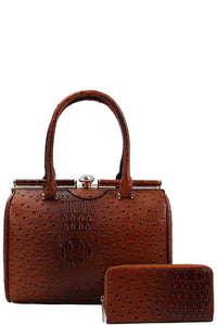 Stylish Croco Pattern Structured Doctor Bag With Matching Wallet