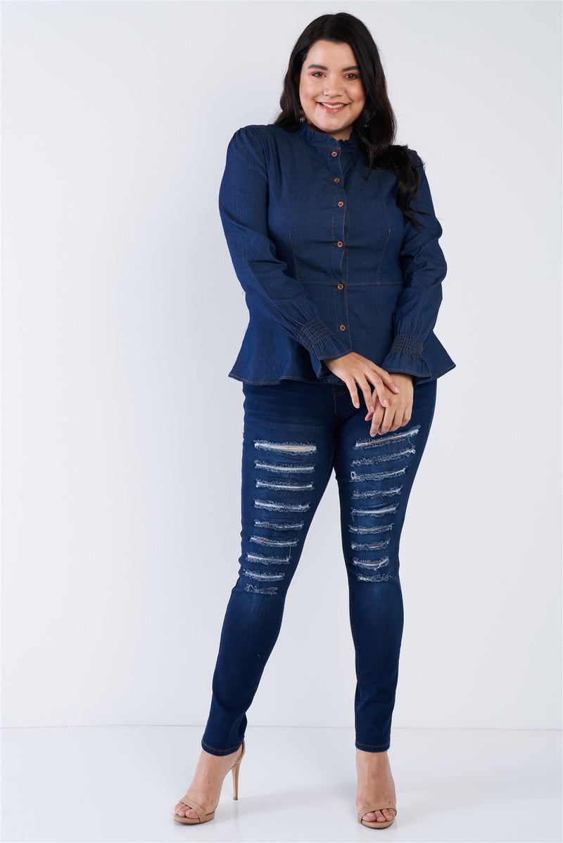 Plus Size Denim Blue Vintage Front Button Sleeve Jean Peplum Top