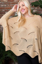 Beige scalloped batwing sweater