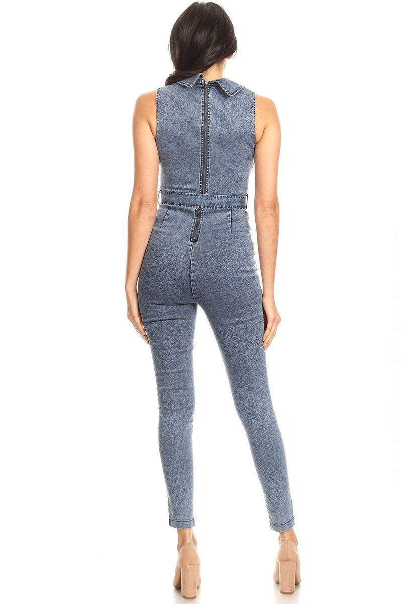 Misses Fitted Denim Jumpsuit With Waist Tie, Button Down Detail, And Collar