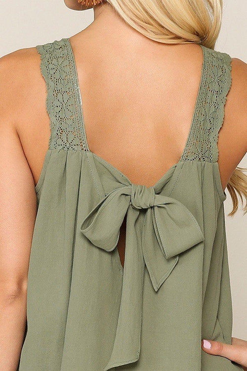 Misses Square Neck Crochet Trim Sleeveless Top
