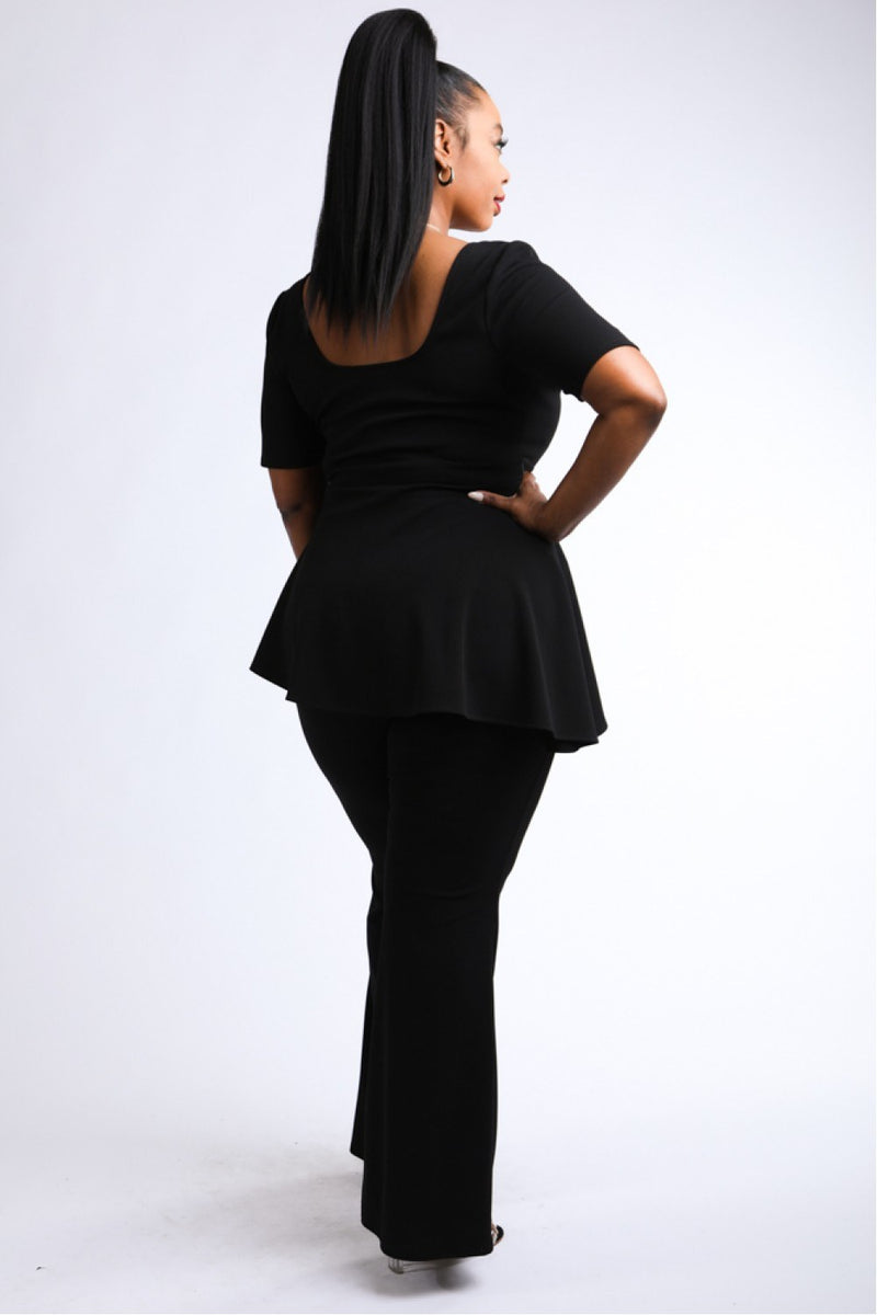 Plus Size Peplum Top & Pants Set