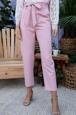 Misses Ruffle High Waist Pants with Belt and Side Pockets