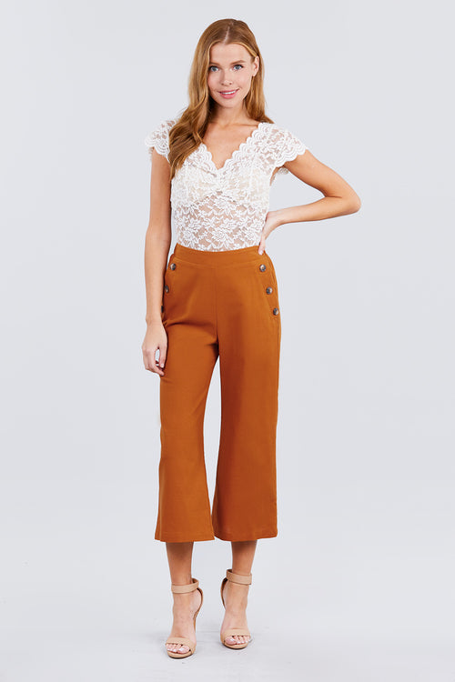Misses Wide Leg Pants Linen Blend