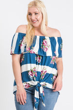 Plus Size Off Shoulder Ruffled Front Tie Top
