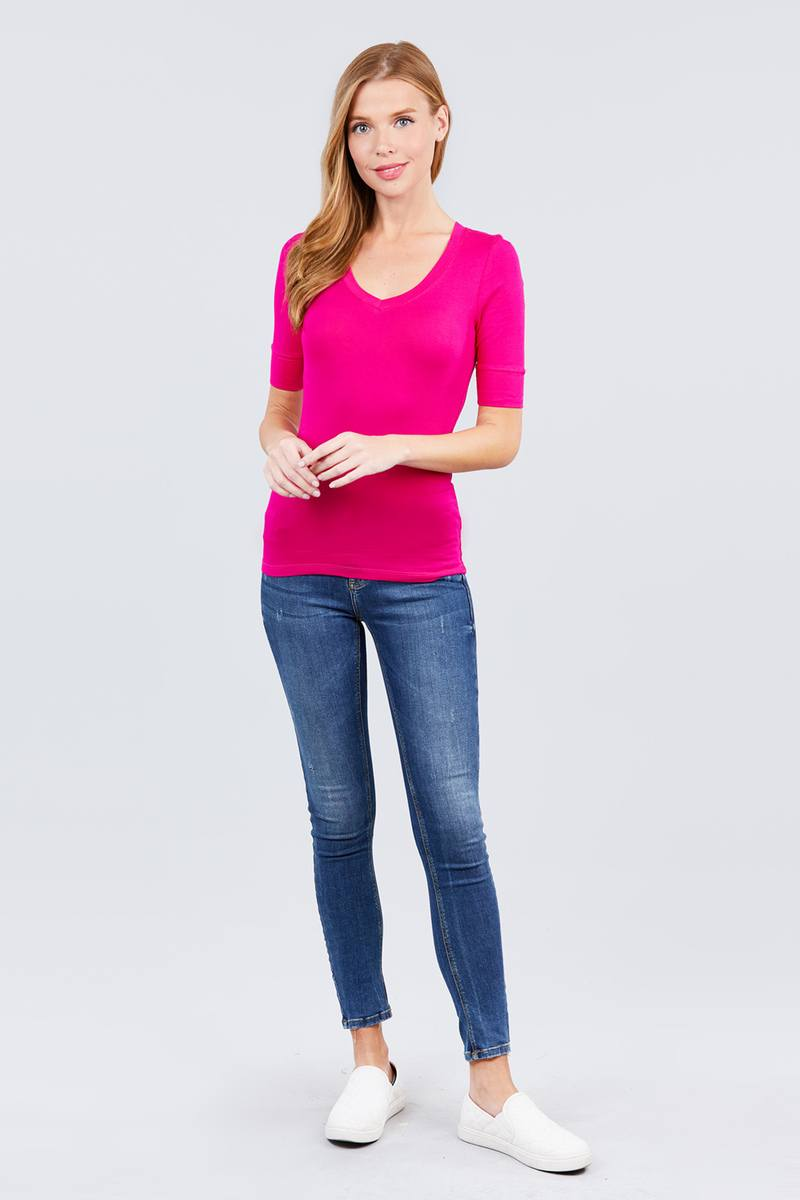Misses Elbow Sleeve V Neck Top