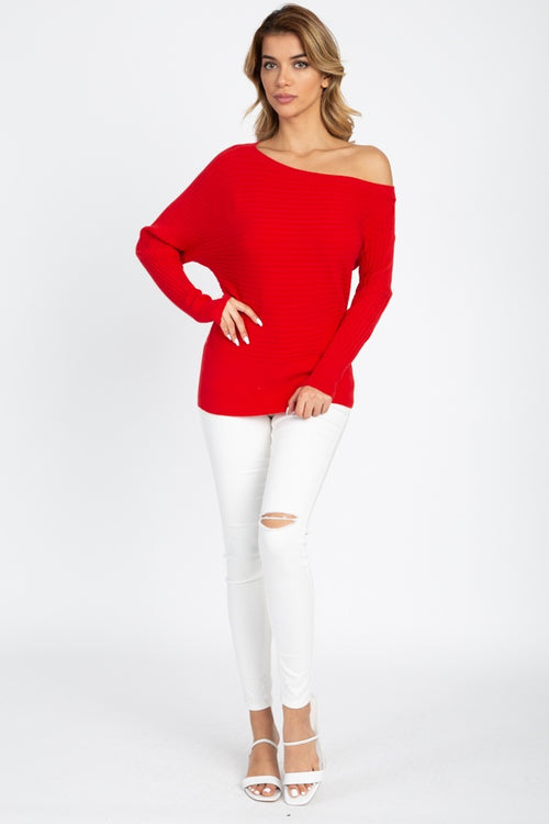 Misses One Shoulder Ribbed Sweater