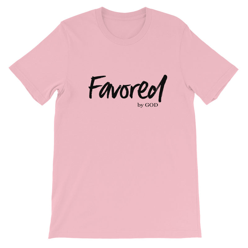 Graphic t shirt for women that has Favored by God written on the front in black letters.