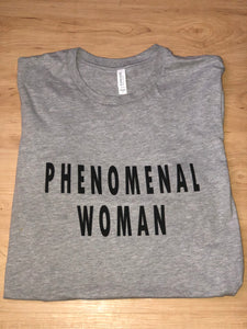 Phenomenal Woman Tee in Athletic Heather Grey. Product photo from Lattes and Mamma T's Boutique lattesandmommas.com
