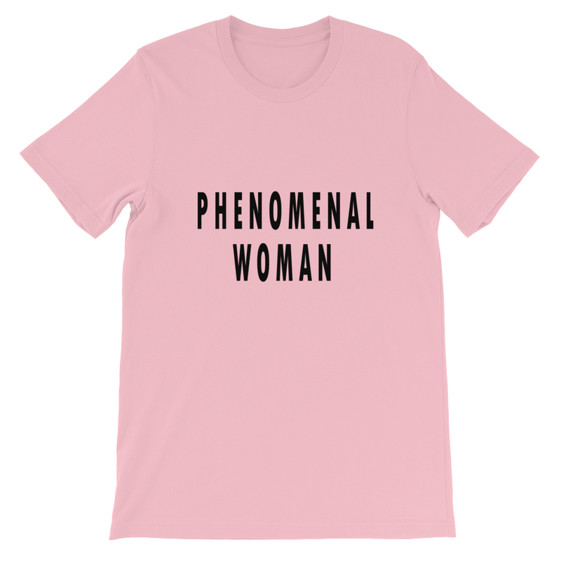 Phenomenal Woman Tee in Pink with black letters. Lattes and Mamma T's Boutique lattesandmommas.com