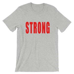 Strong inspirational t-shirt in athletic heather and red lettering. From Lattes and Mamma T's Boutiques. lattesandmommas.com