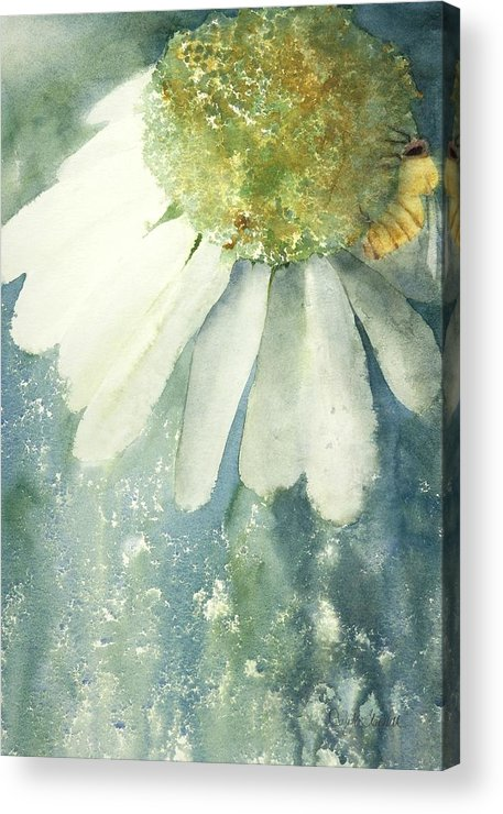 Coneflower And Bee - Acrylic Print