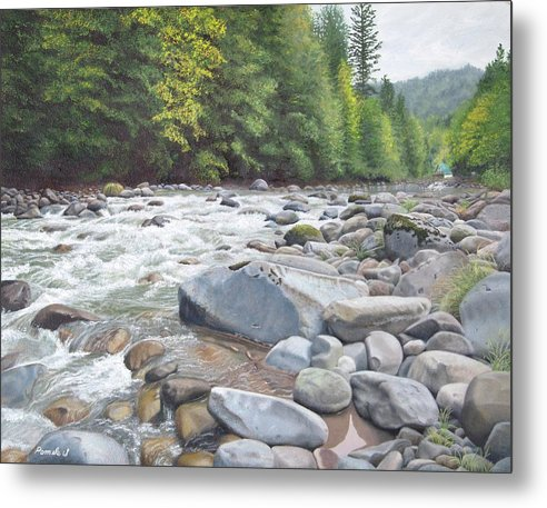 Fall On The Sandy River - Metal Print