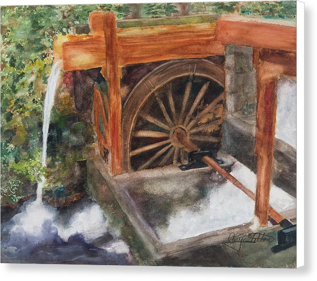 Historic Government Camp Waterwheel  - Canvas Print