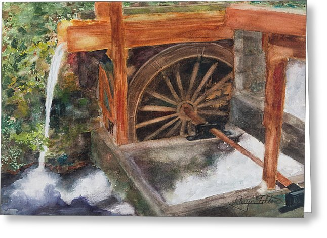 Historic Government Camp Waterwheel  - Greeting Card