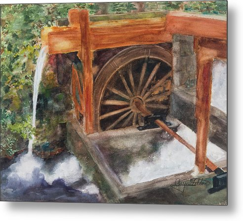 Historic Government Camp Waterwheel  - Metal Print