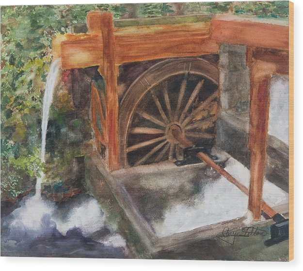 Historic Government Camp Waterwheel  - Wood Print