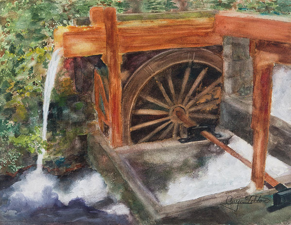 Historic Government Camp Waterwheel  - Art Print