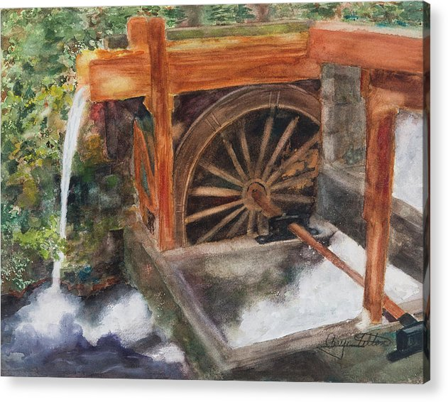 Historic Government Camp Waterwheel  - Acrylic Print