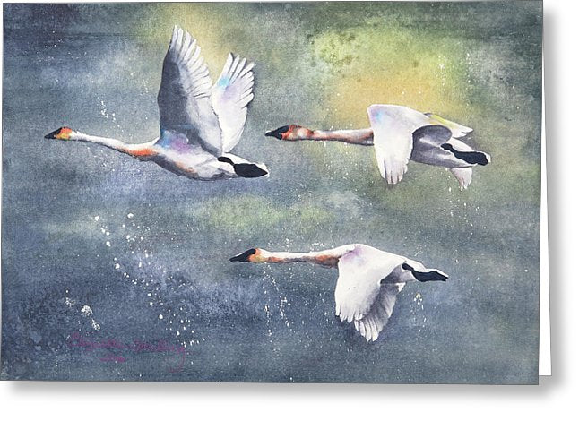 Flight From The Storm - Greeting Card