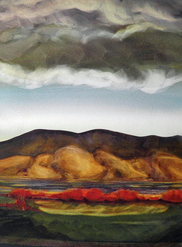 Golden Hills And The Coming Storm - Art Print